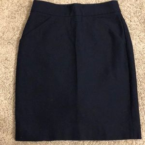J.Crew Navy Pencil Skirt with pockets